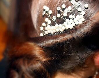 Bridal Hair Comb, Swarovski Crystal and Pearl Hair Comb, Decorative Comb, Wedding Hair Accessories, Pearl and Crystal Wire Hair Comb