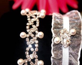 Bridal Garter Set, Wedding Garter, Crystal Garter, Rhinestone Garter