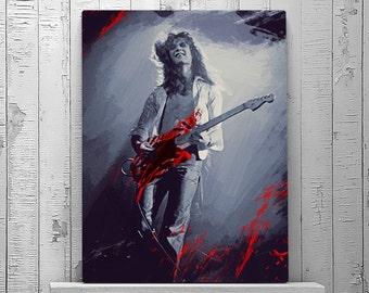 Eddie Van Halen, Van Halen, Van Halen Poster, Jump, Rock n Roll Art, Fender Stratocaster, Gift for Music Lover, Wall Art Print