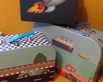 Set of 3 childrens suitcases small toy storage gift keepsake rocket racing car and sea designs