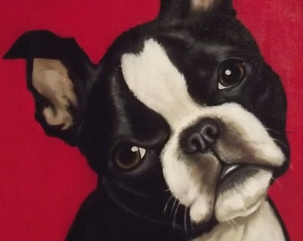 Boston Terrier Acrylic Painting