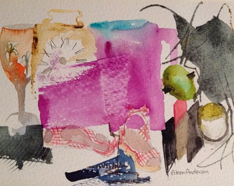 giclee reproduction of original watercolour of abstract still life