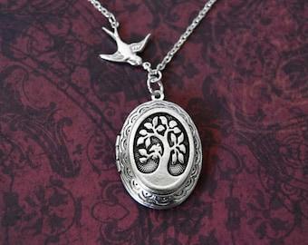 Bird In The Tree Locket Necklace, Swallow Necklace, Vintage Locket Necklace, Tree of Life Necklace, Silver Locket