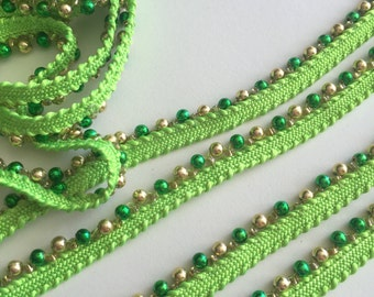 Green Beaded Trim, embellishments, beads, sewing materials, accessories sewing notions, fabric trim, trims, cheap notions