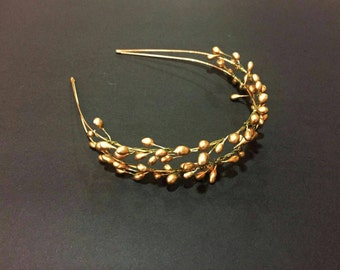 Headband beads gold