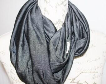 Scarf / Denim Knit Unisex Infinity Scarf with Hidden Zipper Pocket / Travel scarf / Phone Pocket Scarf / Passport Scarf. Graduation Gift