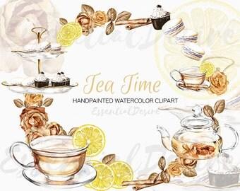 Watercolor Tea Clip Art, Tea Time Clipart, DIY Clip Art, Tea Invitation Tea Time Illustration Watercolor Teacup Lemon Teapot Cookies Flowers