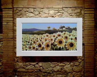 """sunflowers, 24""""x48"""", Antonello Plantamura original painting"""