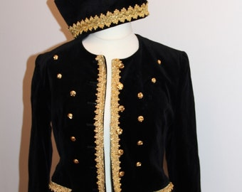Velvet Blazer with a noble military look - Gr. 38 / vintage velvet Blazer size in GB 10 / US 6
