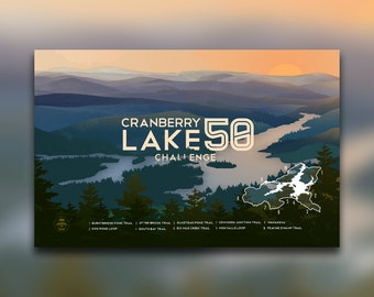 Cranberry Lake 50 Challenge - Adirondacks, NY Print - ADK Mountain Graphic - Hiking Decor Poster - New York - Wall Art Design