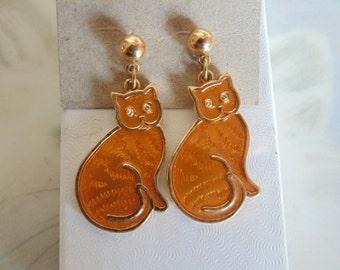 orange cats . Metal earrings.