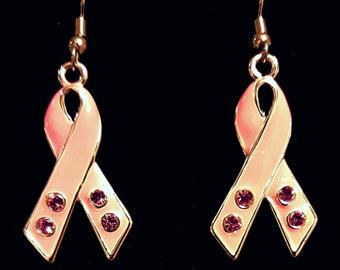 Pink Ribbon Dangle Earrings with Pink Rhinestones