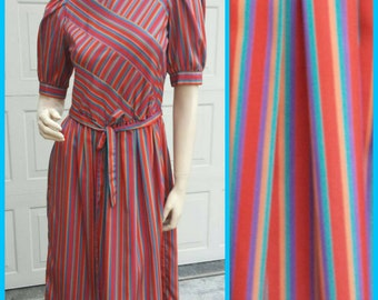 Vintage Rainbow Striped Dress - Late 70s, Early 80s