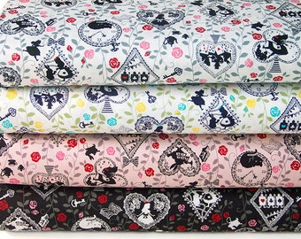 Japanese Kokka Cotton Fabric Vintage Alice in Wonderland-Half yard