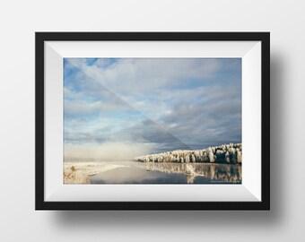 Landscape photography in Harads, Sweden. winter photography, Mirror reflection, nature photography, home decor, wall art, landscape photo