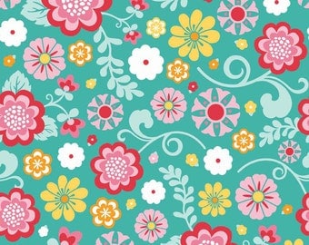 Main Teal - Fancy Free - HALF YARD - Riley Blake - Cotton Fabric - Quilting Fabric