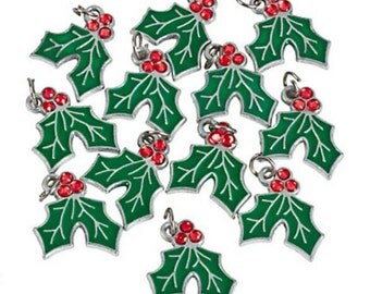 Rhinestone Holly Berry charms - set of 12