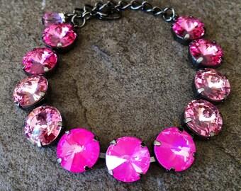 PRETTY IN PINK ombre 12mm Swarovski crystal bracelet - rose, light rose, ultra pink crystal rivolis select your finish