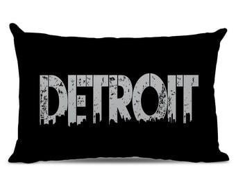 Detroit Pillow - Detroit Skyline Pillow - City Pillow - Urban Throw Pillow - Detroit Gift - City of Detroit