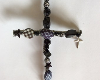 Black Beaded Cross
