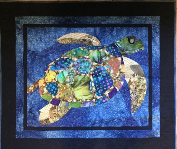 Original Design Batik Sea Turtle Art Quilt/ Wall Hanging