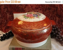 Fall CLEARANCE Sale Triumph American Limoges Covered Casserole Serving Bowl - Meissen Rose Maroon with 22K Gold Trim