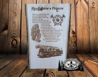 Firefighter's Prayer laser engraved