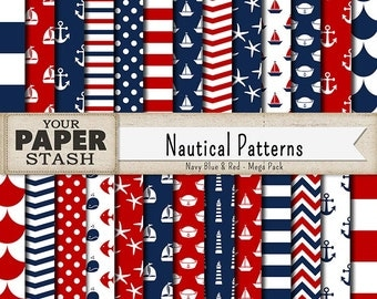 Nautical Digital Paper, Navy Blue & Red, Scrapbooking Paper, Nautical Scrapbook, Stripes, Chevrons, Boy Scrapbook, Patriotic, Commercial Use
