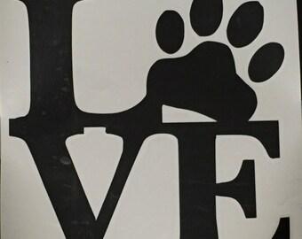 Love Paw Print Vinyl Decal