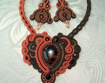brown soutache necklace
