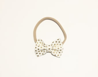 White and Gold Dot Bow, Baby Bow, Leather Bow, Gold Bow