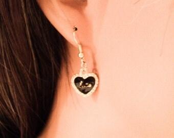 Black Enamel Heart Charm Earrings