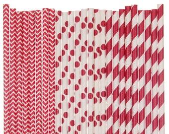 Paper Straw Mix, Red Chevron Polka Dot Striped Paper Straws, Red Wedding Paper Straws, Graduation Party Decor, 1st Birthday Party Supplies