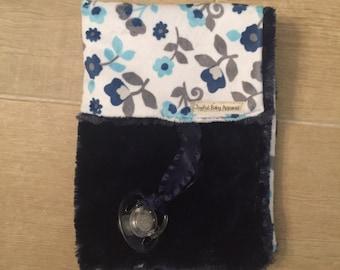 navy floral minky binky blanket, pacifier blanket, security blanket, stroller blanket, carseat blanket
