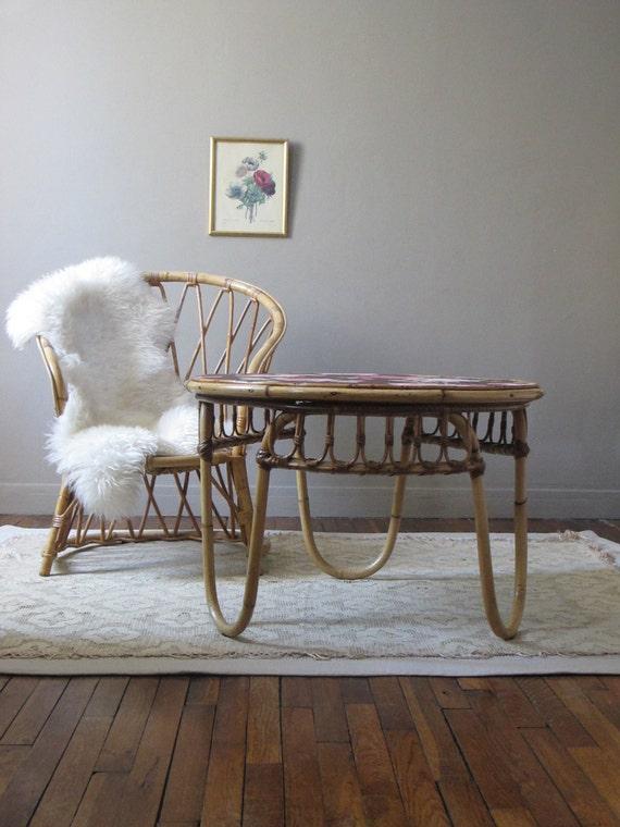 grande table basse rotin osier bambou r tro vintage. Black Bedroom Furniture Sets. Home Design Ideas
