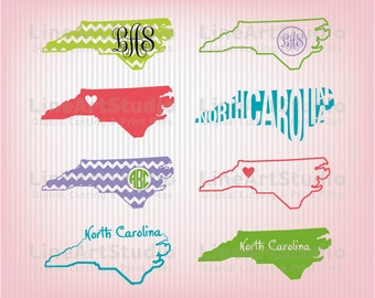 North Carolina SVG Collection State Files - SVG File- Monogram State - American States Svg Files - Svg Silhouette Files - Svg Cricut Files