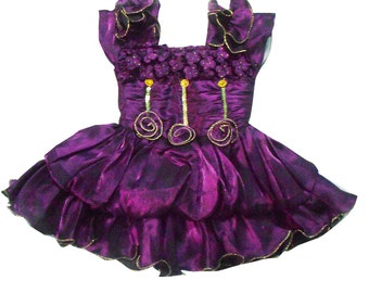 Kids Dress Indian Gift Frock Princess Dress Ethnic Wear Wedding Plum Dresses Tissue Fabric Party Wear Gown Dress 2-3 Years Kids Girl Dress