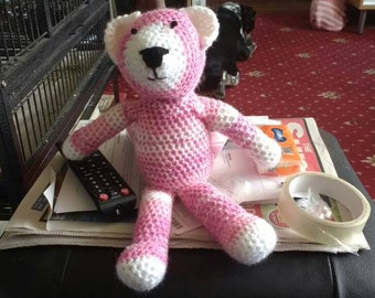 Pink and white crochet bear