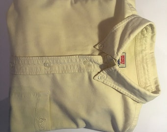 Vintage Levis Mens Shirt Cream Yellow Large Excellent Condition