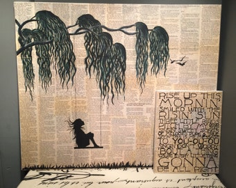 Vintage Willow Tree/Swinging Girl Newspaper Painting