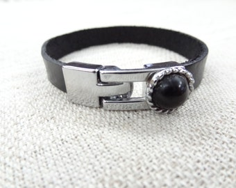 EXPRESS SHIPPING,Black Leather Bracelet,Cuff Bracelet,Onyx Bracelet,Black Beaded Hook Bracelet,Bracelet,Gifts for Her,Valentine's Gifts