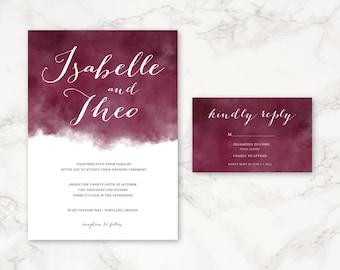 Printable Wedding Invitation - Watercolor - Customizable Colors - DIY printing