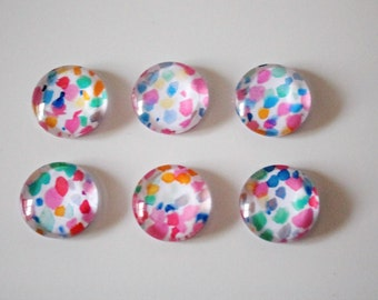 Bright Coloured Speckle Print Glass Magnets - Super Strong - 6 Piece Magnet Set - Office Accessrories - Birthday Gifts