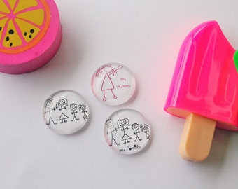FREE SHIPPING AUS - Turn Your Kids Drawings Into Magnets - 6 Piece Glass Magent Set - 20mm - Stick Figures - Family - Teachers Gift