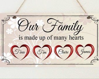 Beautiful Handmade Personalised Plaque Our Family Hearts Christmas Gift Sign Present Chic