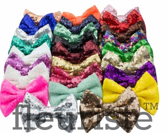 """Sequin Bow, Glitter Bow,  Bows, Fabric Bows, diy Bows, DIY Hair Bows, Soft Bows, Wholesale Bows, Diy Headband, 5"""" Choose colors"""