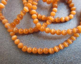 Orange Cat's Eye Round 3mm Beads 126pcs