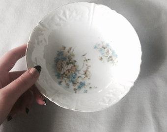 Porcelain Blue Floral Bowl // Floral Kitchen // Floral Home Decor // Vintage Kitchen Decor // Blue Floral Decor