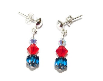 Earrings Silver stud  with blue and red dangles 1 inch