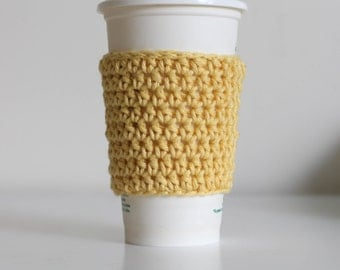 Yellow coffee cozy, pastel yellow coffee cozy, coffee cup sleeve, coffee cup cozy, ready to ship, vegan, cotton coffee cozy, soft gunge
